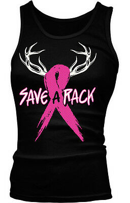 Save A Rack Hunting Antlers Pink Ribbon Breast Cancer Month Boy Beater Tank Top