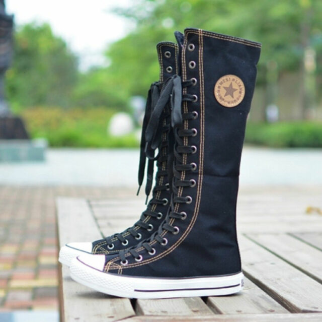NEW Punk EMO Women Girl Shoes Sneaker Lace Up Zip Boot Knee High Flat Tall Boot