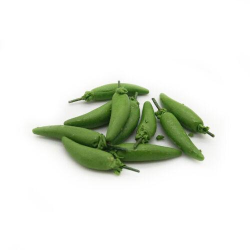 10Pcs Dollhouse Clay Vegetable Green Chili 1:12 Miniature Greenstuff Accessories