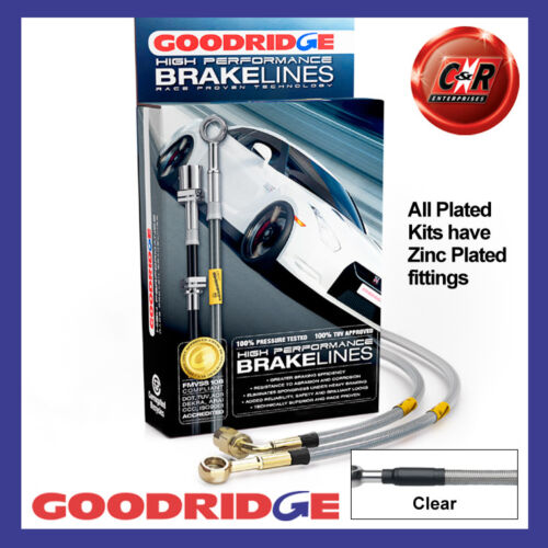 Fits Celica 2.0GT ST202 1994 Goodridge Zinc Clear Brake Hoses STY0127-4P-CL