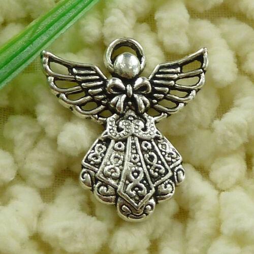 free ship 114 pcs tibetan silver angel charms 26x24mm #3121
