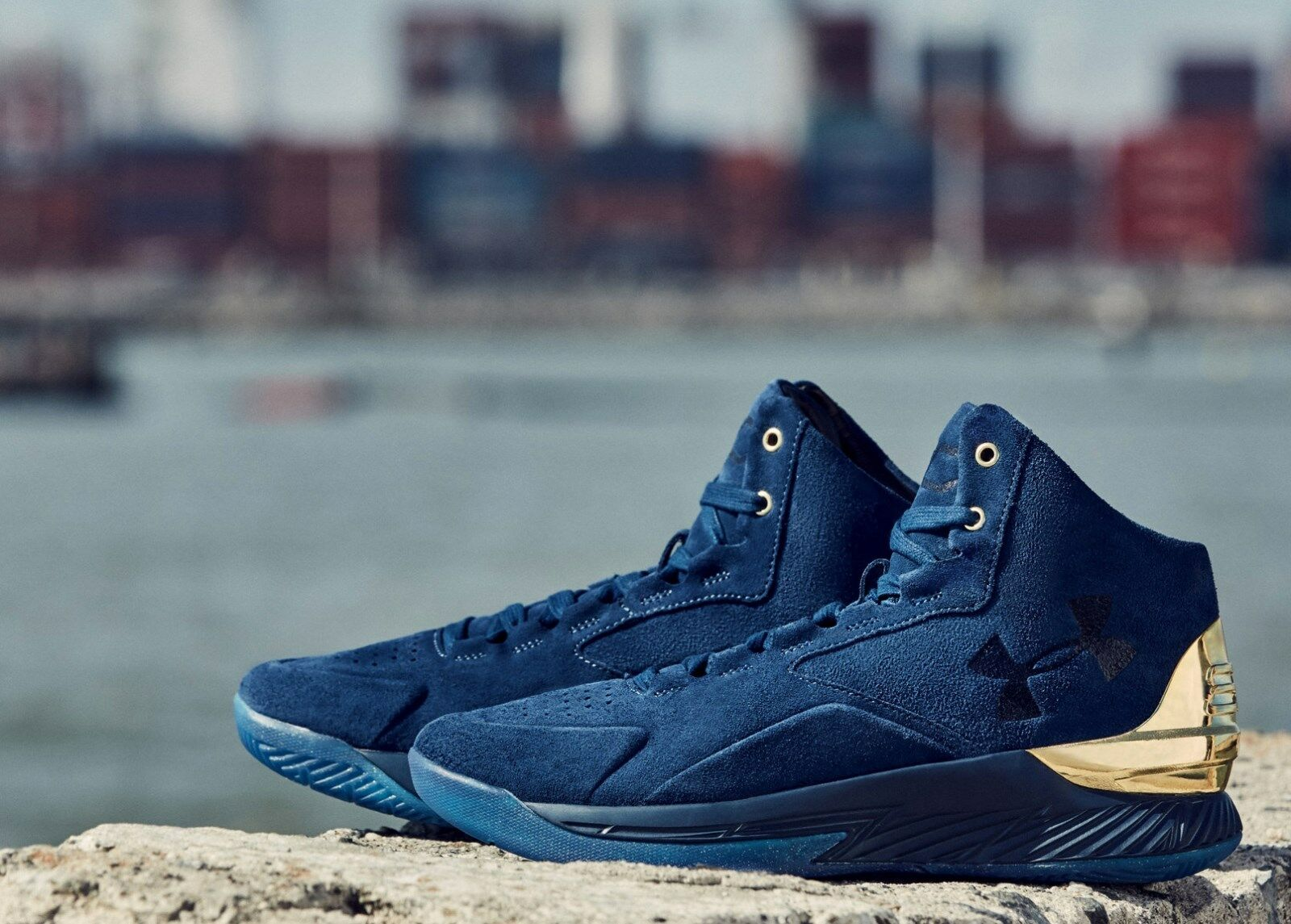 UNDER ARMOUR 0 Steph Curry 1 Lux Mid Suede Basketball Shoes Navy-Gold sz 10 Scarpe classiche da uomo