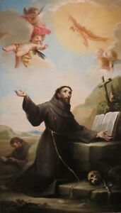 Handpainted Oil Painting Saint Francis Of Assisi Receiving The