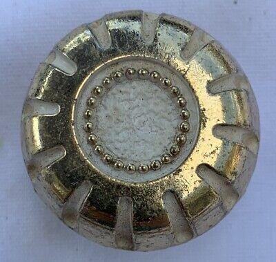 Vintage Japan Back Plate for Drawer Pull gold brass shabby white enamel paint