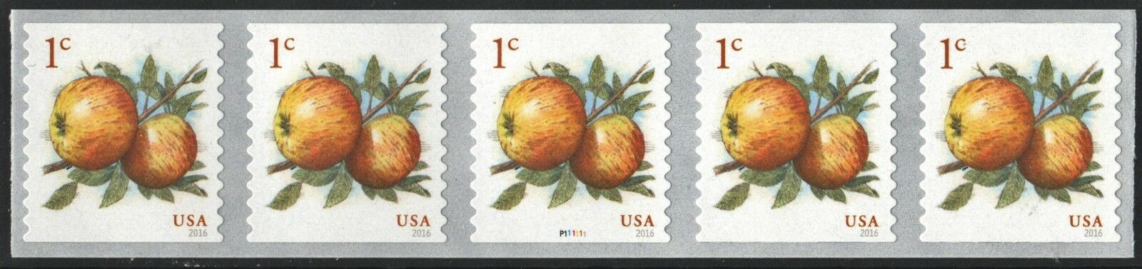 2016 1c Albemarle Pippin Apples, Coil, Plate Strip of 5