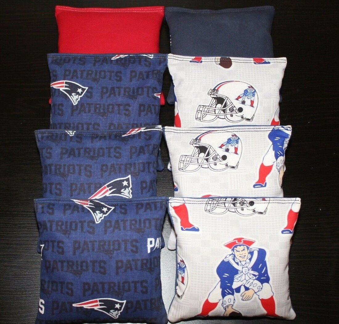 All Weather Cornhole Bean Bags made w NEW ENGLAND PATRIOTS  fabric Waterproof NFL  honest service