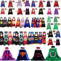Cape+Mask Kids Superhero Boys Girls Party Costume Set Superman Batman Spiderman