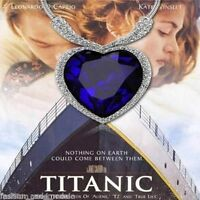 Titanic Heart Of The Ocean Cz Crystal Pendant Snake Chain Necklace + Box B68