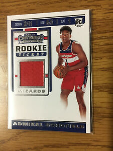 2019-20 Contenders Admiral Schofield Rookie RC Ticket Patch Washington Wizards