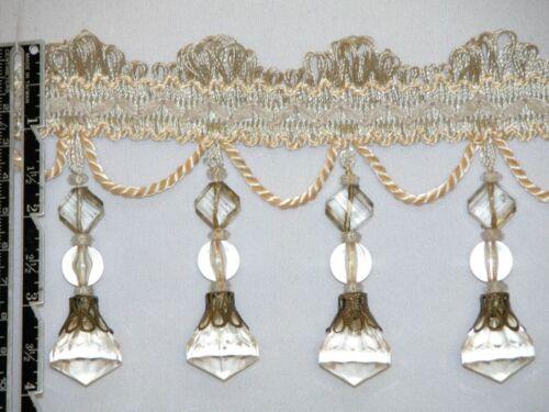 """4/"""" Exquisite Tassel Fringe Bead Trim Ivory Per Yard"""
