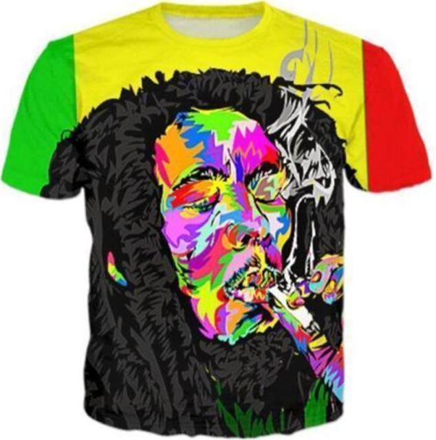 2019 Bob Marley Womens//mens 3D print T-Shirt Short Sleeve Funny Casual Tee Tops