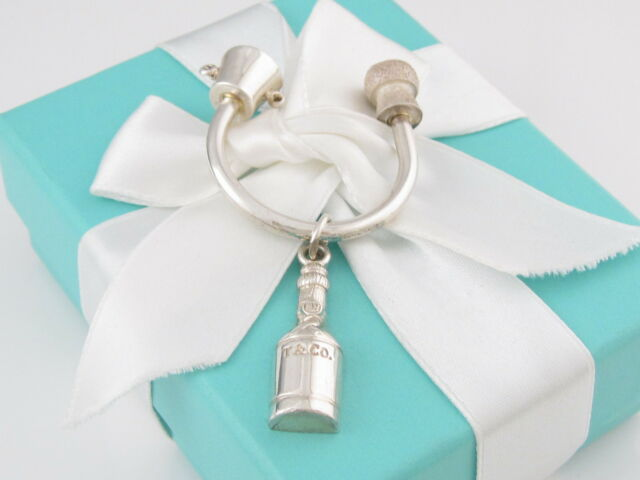 Tiffany & Co Silver Champagne Bottle Key Ring Key Chain Box Included