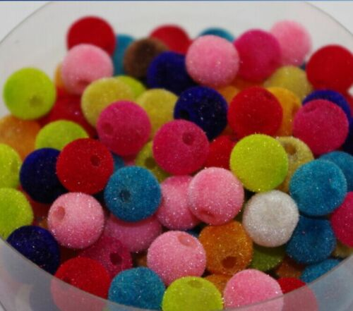 100pcs Mixed Color Fluffy acrylique perles rondes Spacer Charm 10 mm DF334