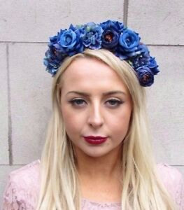 Royal Blue Rose Flower Headband Hair Crown Floral Boho Festival ... 37e15557de3