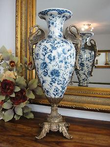 Luxus-Jugendstil-Blumenvase-Porzellan-Bronze-Edel-Pokal-Amphore-Prunk-Vase-Antik