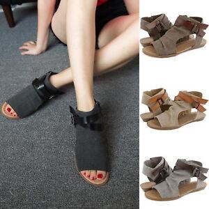 Women-039-s-Sandals-Ankle-Open-Toe-Flat-Shoes-Canvas-Strap-Pump-Summer-Beach-Size