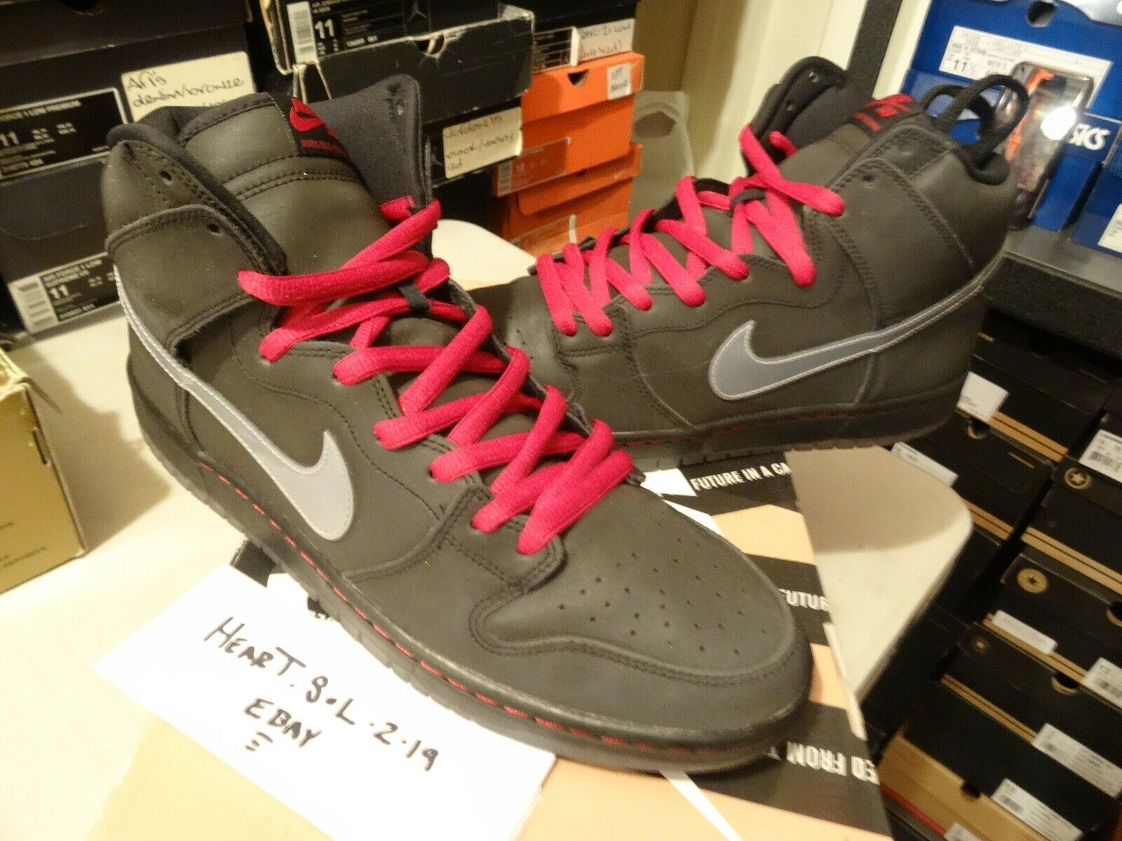 Nike Dunk High Premium SB REFLECTIVE 3M BLACK SILVER GREY RED 313171-015 SZ 13