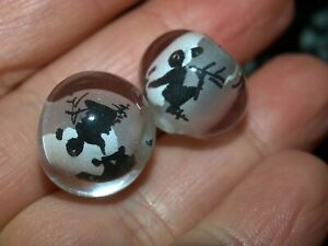 Pair of Vintage Chinese Reverse Painted Glass Beads Butterflies 15mm Round
