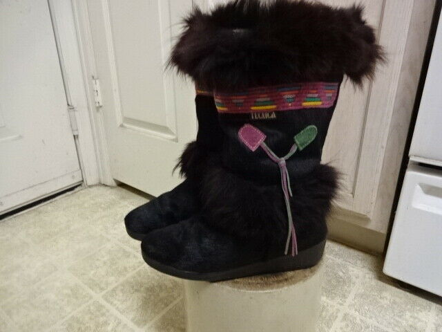 GREAT GREAT GREAT COND NOT MUCH USED VINTAGE TECNICA GOAT FUR BOOTS 40 MADE IN ITALY BLACK 5a7d87