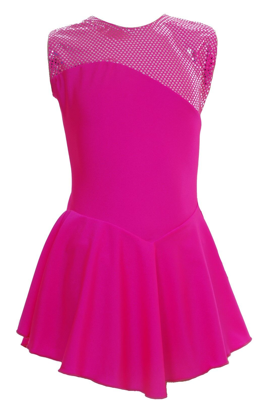 Skating Dress -TOFEE PINK LYCRA   Metalic top NO SLEEVE ALL SIZES AVAILABLE