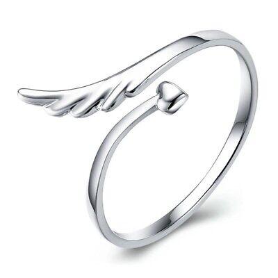 Aktiv 925 Sterlingsilber Ring Feder Feather Herz Liebe Verstellbar Silber Filigran