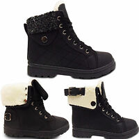Womens Ladies Lace Up Fur Lined Work Hi Top Trainers Ankle Boots Shoes Size