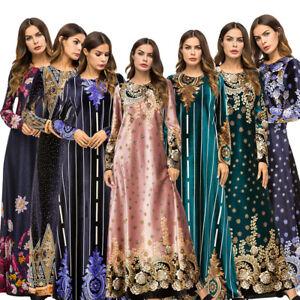 Fashion-Women-039-s-Flower-Abaya-Muslim-Long-Maxi-Party-Dress-Dubai-Gown-Kaftan-Robe