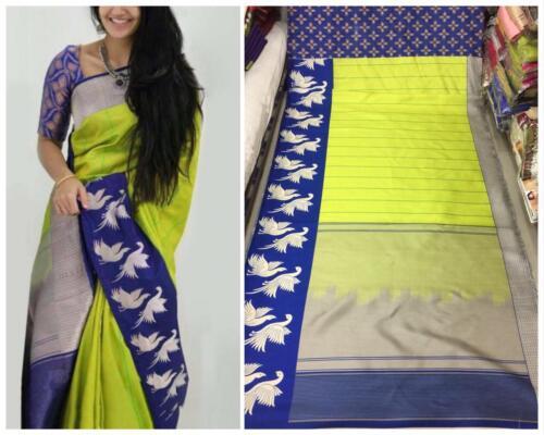 Pakistani Saree Cotton Silk Bollywood Indian Designer Sari Ethnic Traditional SV