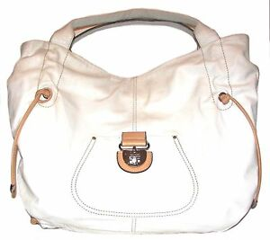 Image Is Loading Cromia White Beige Leather Large Shoulder Bag Tote