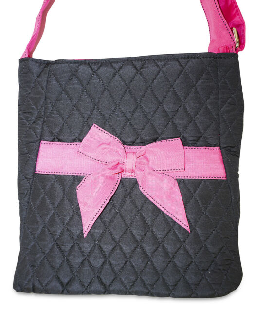 Black Quilted Crossbody Bag Purse Handbag Women Bow Cross Body Ladies Large