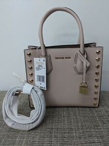 Details about Michael kors Mercer Kors Studio Medium Messenger Soft Pink Leather Gold Details
