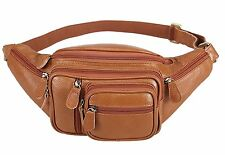 Polare Mens Natural Leather Fanny Pack Waist Bag Brown Large