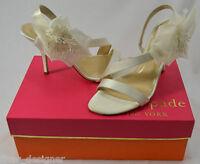 $295 Kate Spade Lavish Ivory Flower Satin Heel Bridal Wedding Shoes Sz 6.5