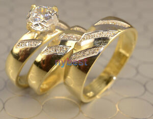 White Gold Finish Engagement Ring// Multi Wedding Bands Set His And Hers L 6 M 9