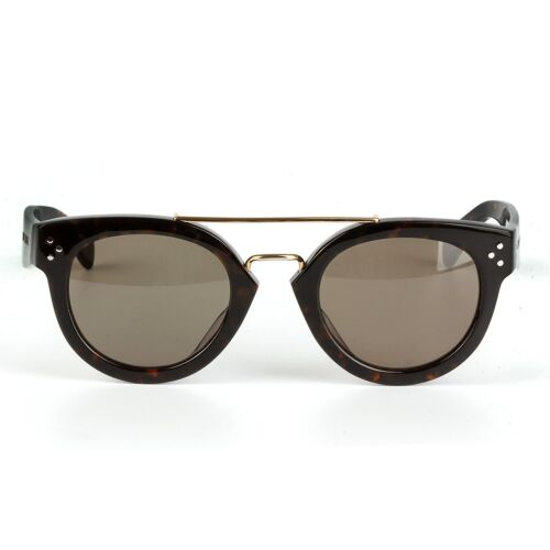 Jimmy Orange Unisex Black Tortoiseshell Metal Bridge Sunglasses