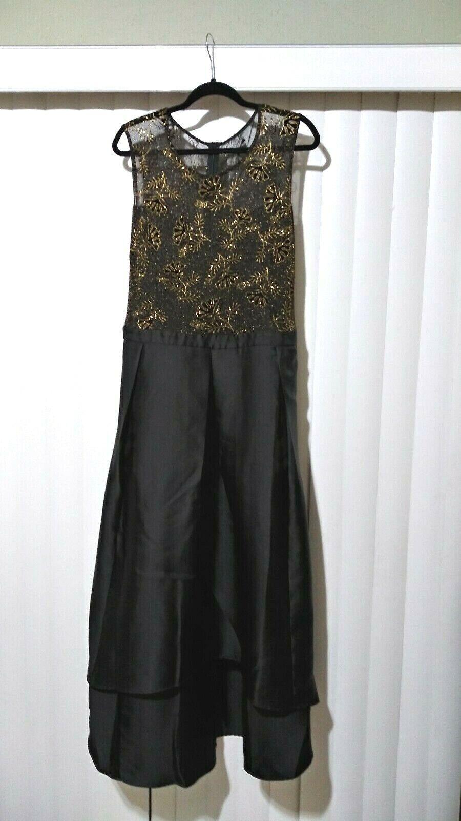 CANDALITE Woherren Größe 3X Formal Gown Sleeveless schwarz Gold Asymmetrical Hem NWT
