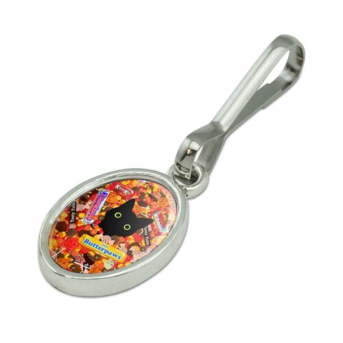 Halloween Black Cat Hiding in Candy  Oval Charm Zipper Pull Aid