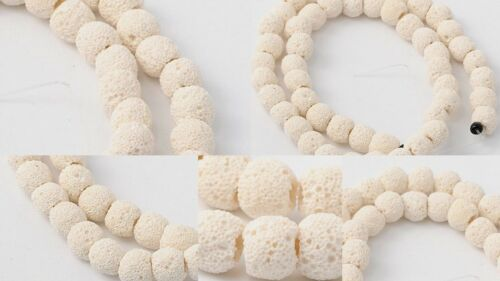 White 10mm Lava Beads Diffuser Scent Aromatherapy Essential Oil Jewelry Making