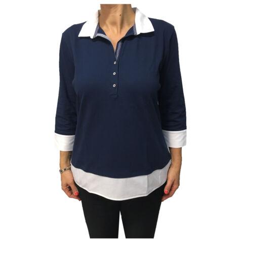 ELENA MIRÒ polo donna blu chiaro con contrasto bianco 97/% cotone 3/% elastan