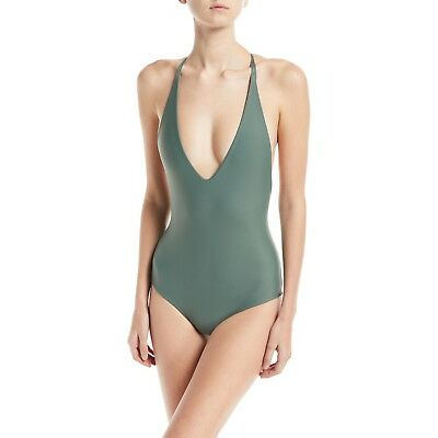 Mikoh Ipanema strappy metal ring back teal green one piece swimsuit size M