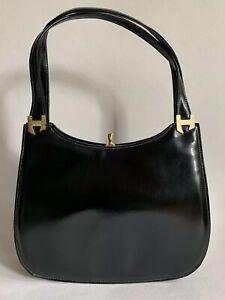 Debonair-1960s-Vintage-Handbag-Black-Leather-With-Cream-Suede-Lining-Mad-Men