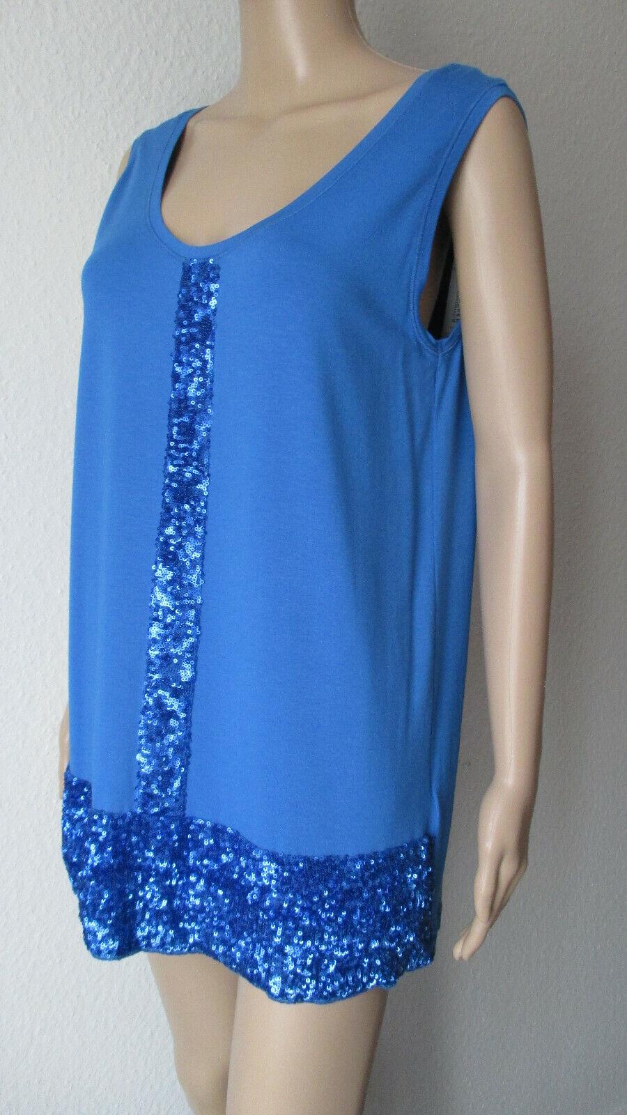 Camisa riani  en azul, con pailettenbesatz en azul, tamaño 42  los nuevos estilos calientes