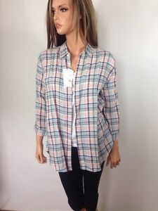 0006488c Uniqlo Women's Premium Linen Checkered Button Down Shirt Blouse 3/4 ...