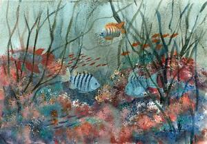 FISH-ON-CORAL-REEF-Acrylic-Painting-M-SMITHER-c1980