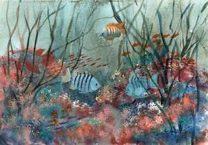 Poisson-sur-Coral-Reef-acrylique-peinture-M-Smither-c1980