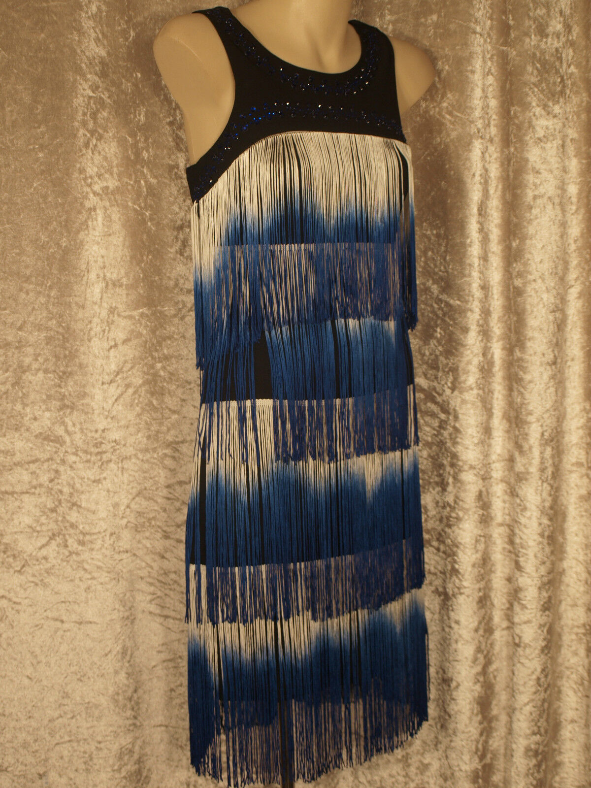 1920 Great Gatsby Style Flapper Party Dress Colourot Fringe with Bead Neckline