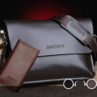 Men's Casual Genuine Leather Briefcase Shoulder Bag Messenger Business Bag