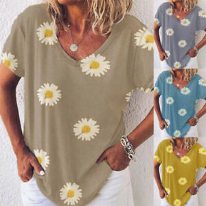 Womens-T-Shirt-Daisy-Pullover-Loose-Summer-Basic-Tee-Ladies-Blouse-Casual-Tops