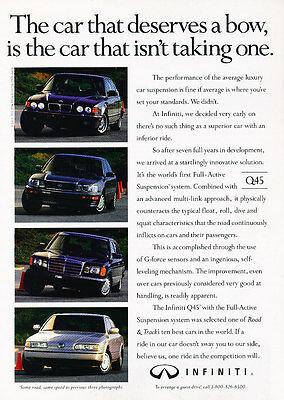 Deserves 1991 Infiniti Q45 Classic Vintage Advertisement Ad D189