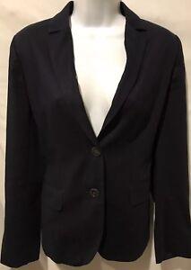Women-s-J-CREW-Blazer-Career-Navy-Blue-Cotton-Jacket-Sz-2